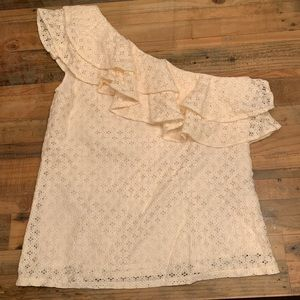 Banana Republic one sided lace cream top